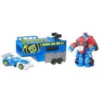 Heroes Transformers ТРАНСФОРМЕРЫ СПАСАТЕЛИ ГОНОЧНЫЙ КОМПЛЕКТ Rescue Bots Optimus Prime Racing Trailer