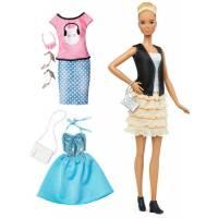 Barbie  Барби Модница высокая блондинка с набором одежды кожа и оборки Fashionistas & Fashions Leather & Ruffles Doll, Tall Blonde