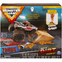 Hot Wheels Monster Jam Набор машинка внедорожник Zombie с кинетическим песком Monster Dirt Deluxe Set