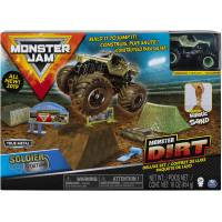 Hot Wheels Monster Jam Набор машинка внедорожник Soldier Fortune с кинетическим песком Monster Dirt Deluxe Set