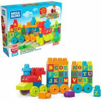 Mega Bloks Конструктор Поезд алфавит DXH35 Building Basics ABC Learning Train