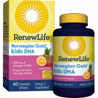 Renew Life Норвежское золото ДГК для детей фруктовый вкус Norwegian Gold Kids Fish DHA Omega-3 Supplement Gluten Dairy Free 60 Chewable Softgels