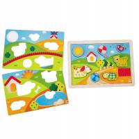 Hape Пазл Солнечная долина 3 в 1 (E1601) Hape Kids Pepe & Friends 3-1 Puzzle Wood Puzzle