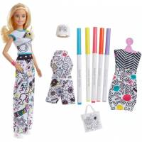 Barbie Набор Барби дизайнер Crayola Color-in Fashions Blonde