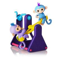 WowWee Fingerlings Интерактивные ручные обезьянки на качелях Willy and Milly See-Saw 2 Baby Monkey